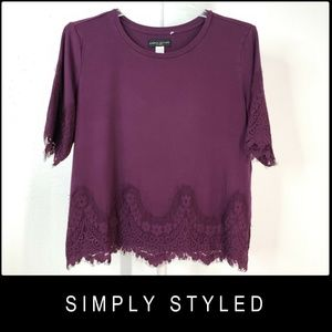 Simply Styled Woman Stretch Blouse Size XL Violet